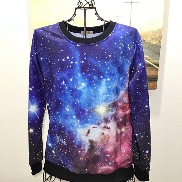 Space Galaxy Long Sleeve Crew Neck Sweatshirt M